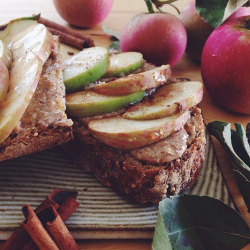 ALMOND BUTTER APPLE TOAST WITH SEA SALT & HONEY. | Kale ...
