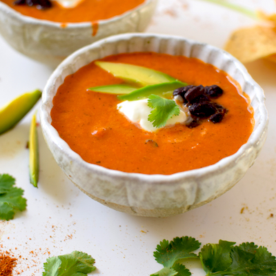 FIRE ROASTED CHIPOTLE TOMATO SOUP WITH CILANTRO LIME CREMA & BLACK ...