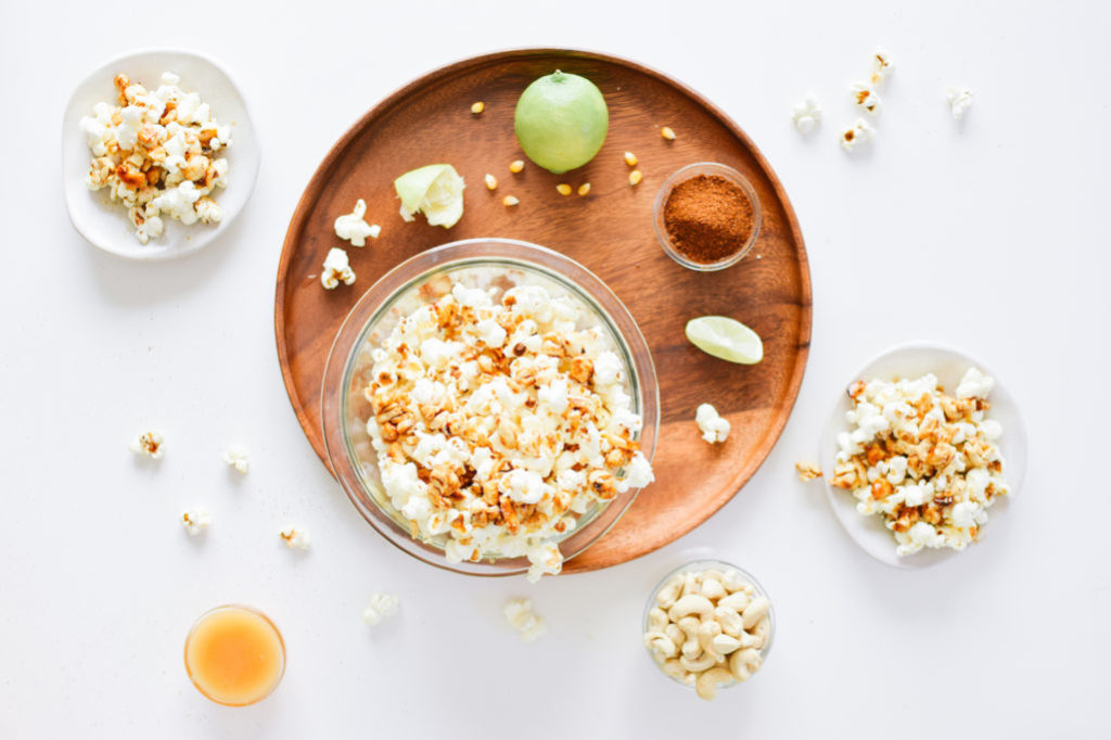 CHIPOTLE LIME POPCORN WITH SWEET & SPICY CASHEW CLUSTERS.