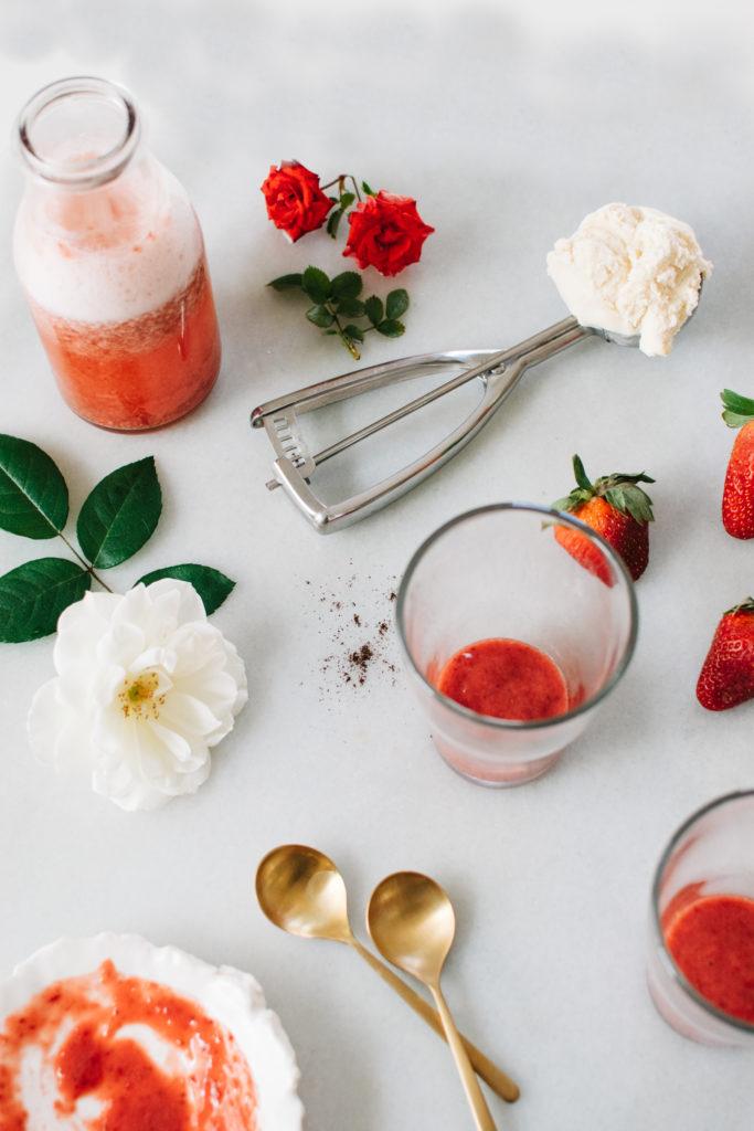 ROASTED STRAWBERRY ROSE ICE CREAM SODA FLOATS. | Kale and ...