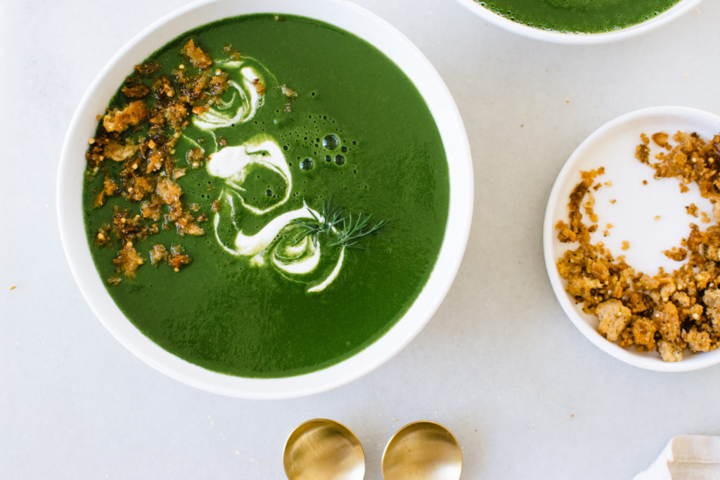 GREENS SOUP WITH CREME FRAICHE & GARLIC CARAWAY BREADCRUMBS.
