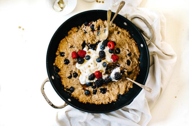 Maple Yogurt Berry Healthy Breakfast Skillet Cookie