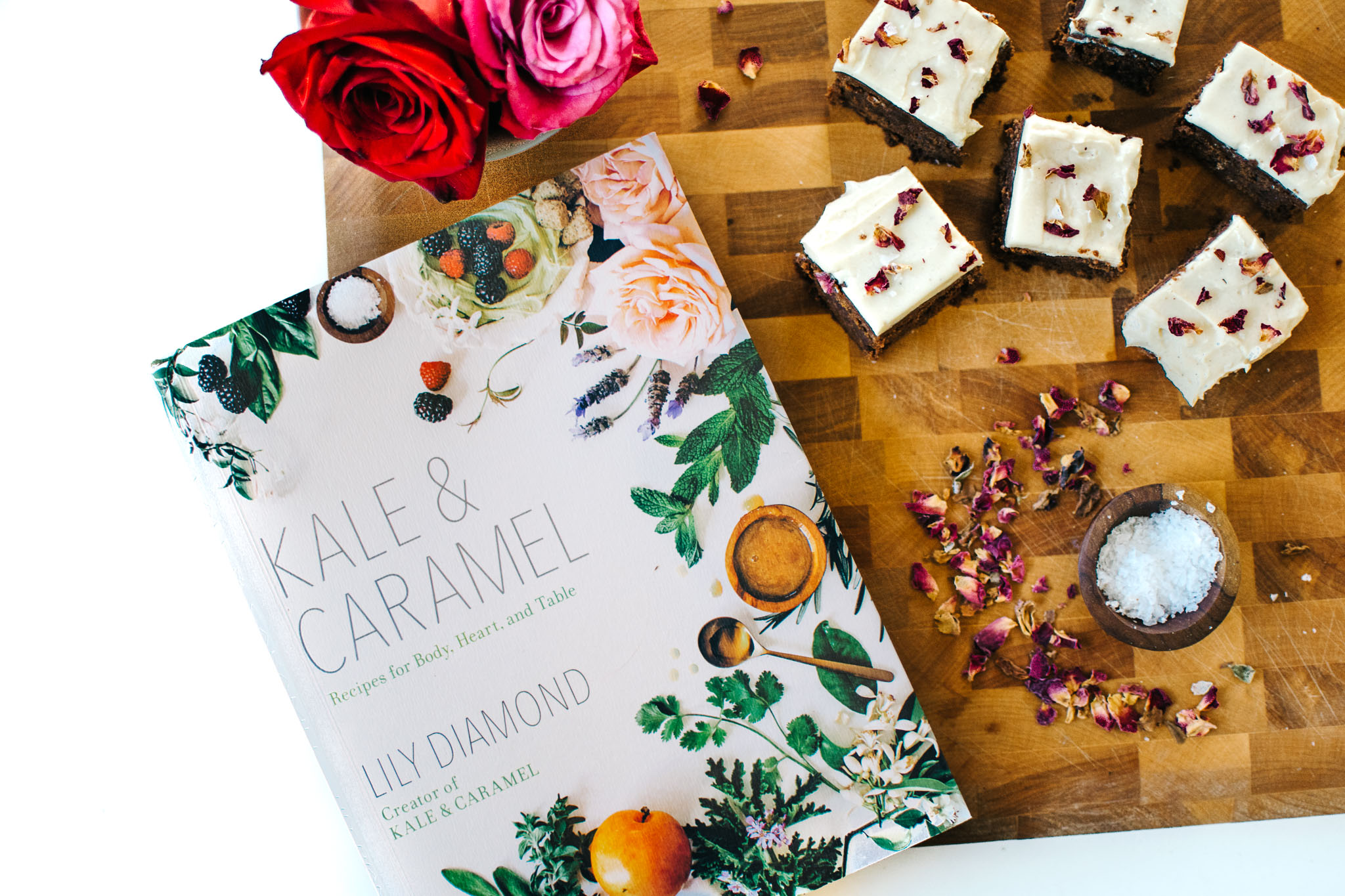ROSEWATER BROWNIES WITH CARDAMOM TAHINI FROSTING + A COOKBOOK PREVIEW.