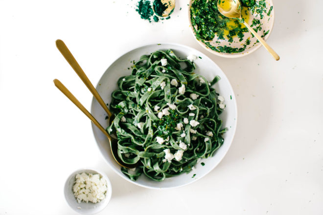 Superfood Green Pasta Gremolata Goat Cheese