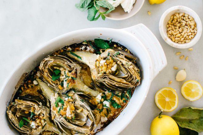 lemon and feta roasted artichokes with fresh mint