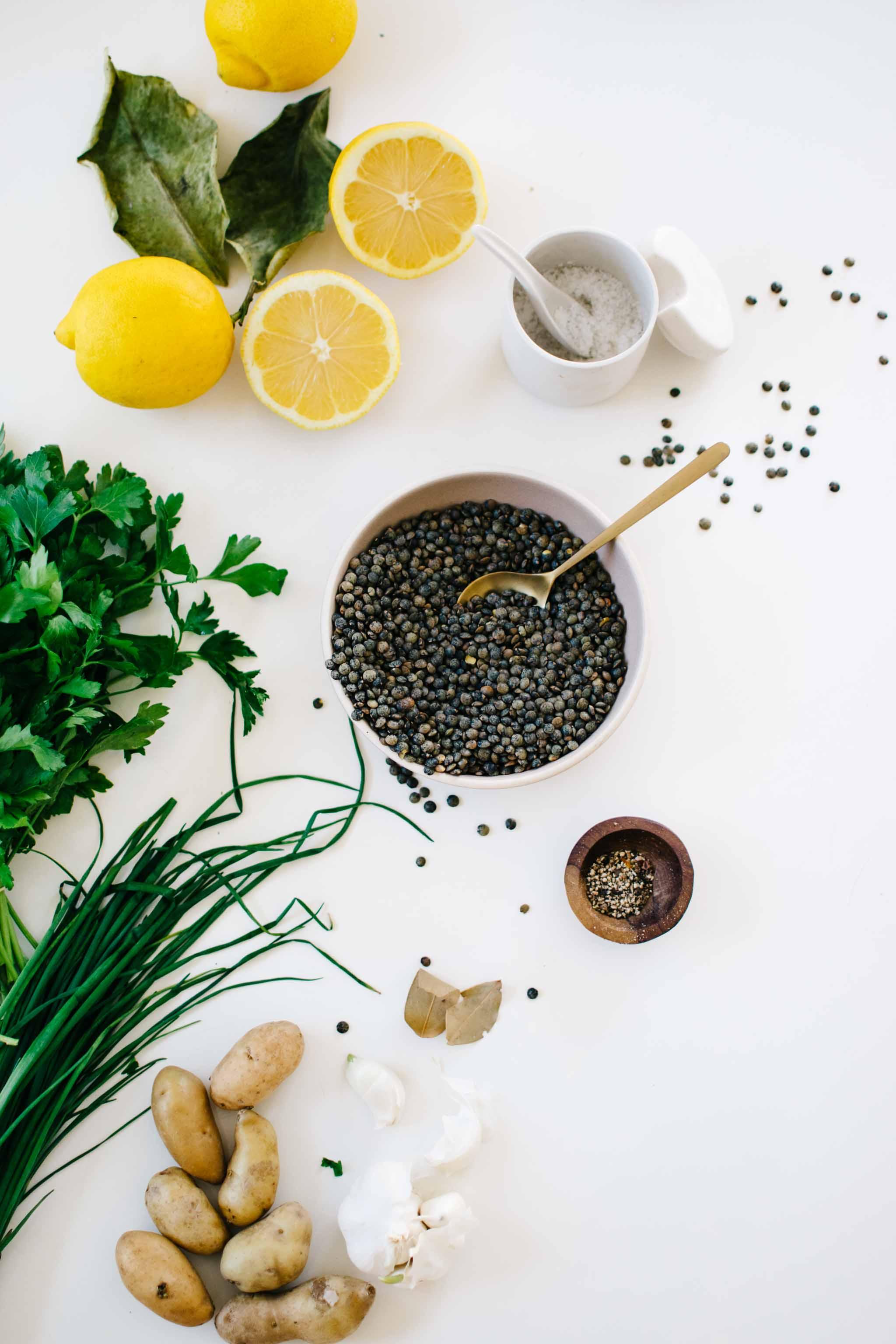 ingredients lentils potatos herbs