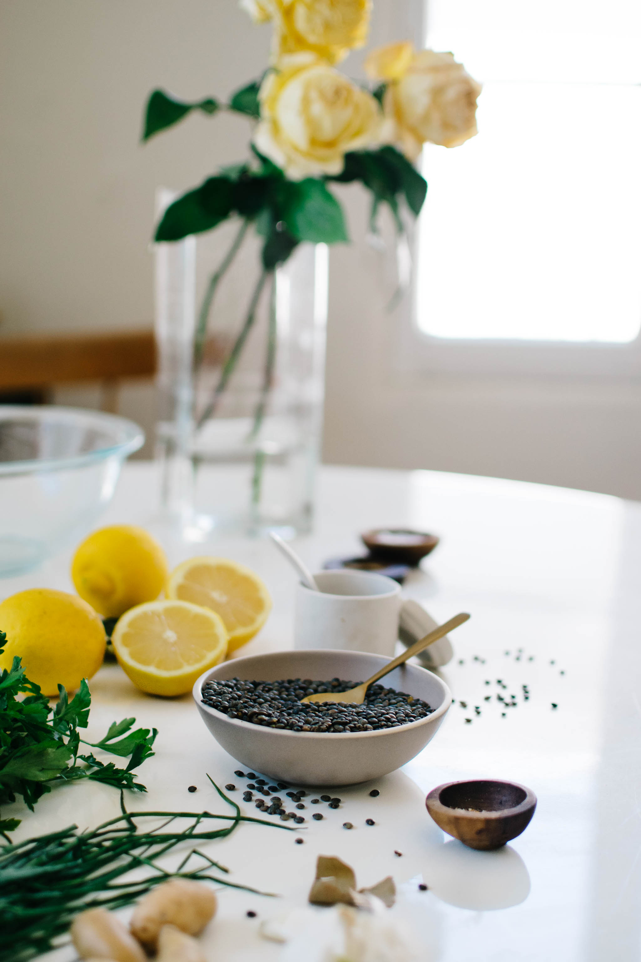 table with roses lentils lemons h