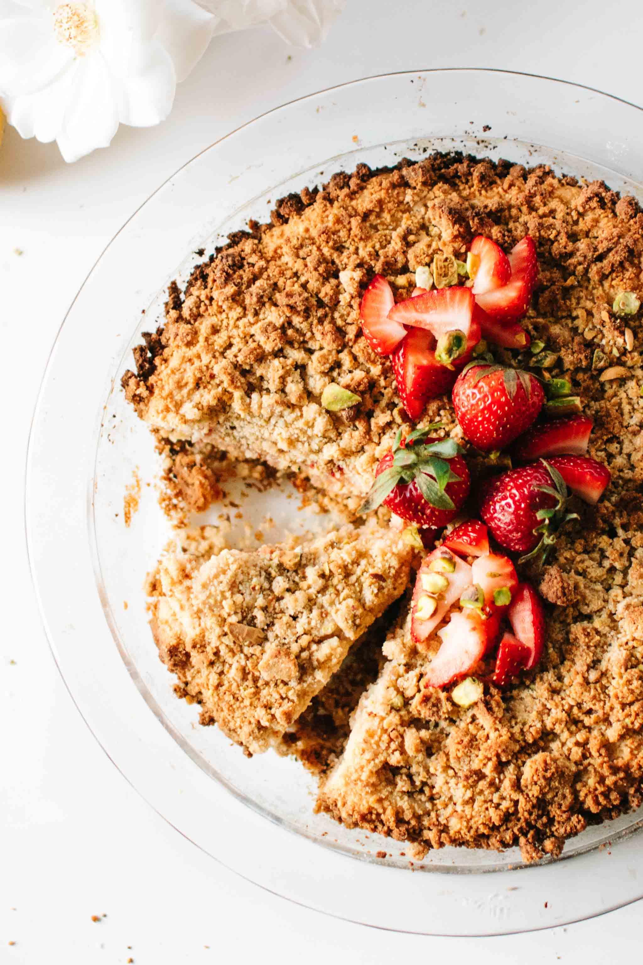 close-up vegan pistachio strawberry crumb cake