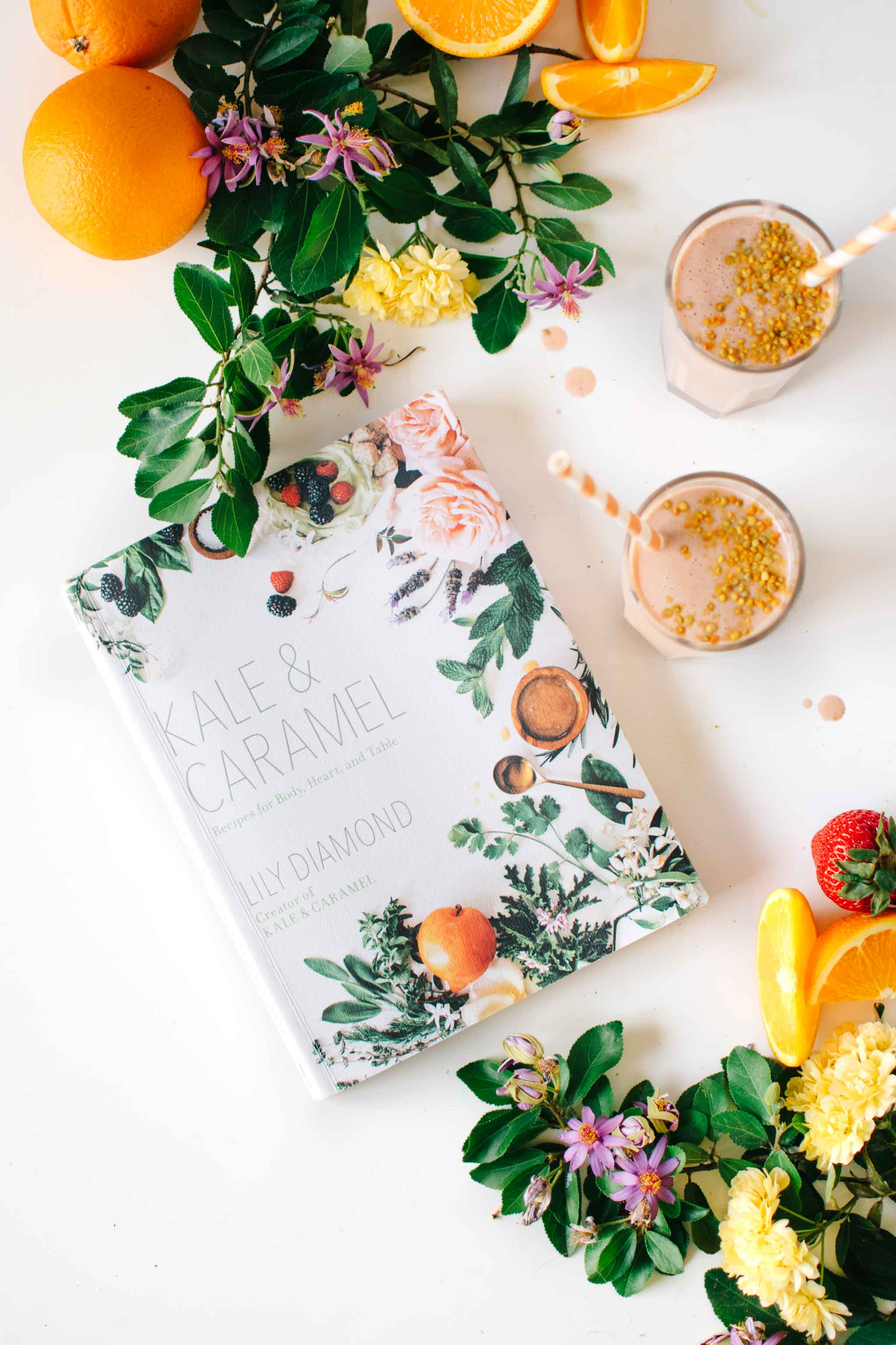 Kale & Caramel Cookbook with Strawberry Orange Blossom Creamsicle Smoothie