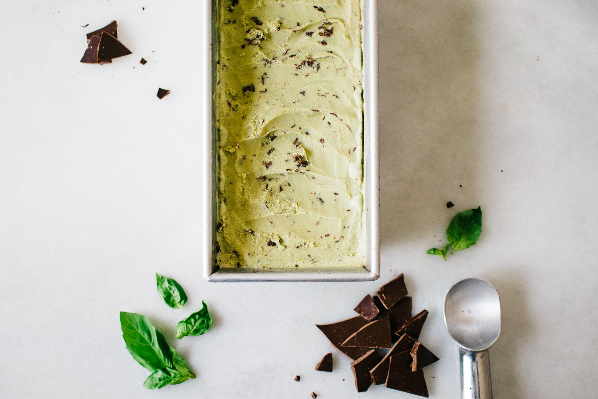 Coconut Basil Stracciatella Ice Cream