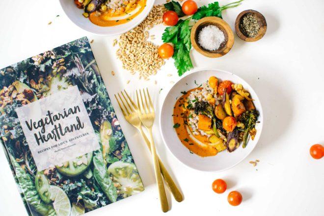 Roasted Vegetables with Creamy Romesco & Farro from Vegetarian Heartland