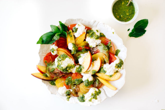 Heirloom Tomato, Nectarine & Burrata Caprese Salad with Pistachio Pesto