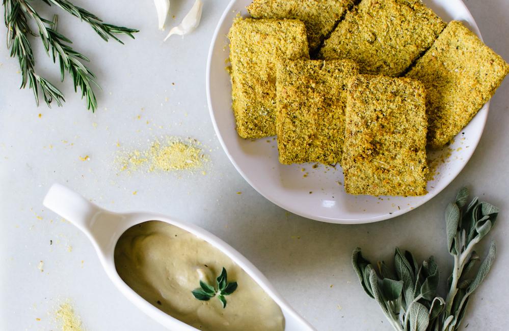 Herb Crusted Tofu With Shiitake Mushroom Gravy