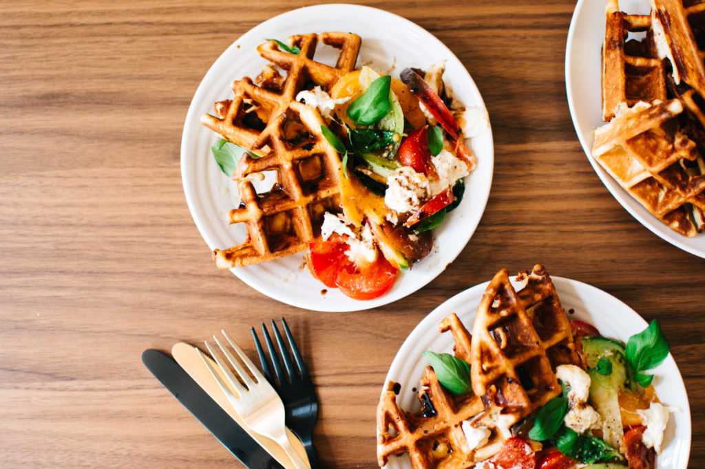 BURRATA CAPRESE WAFFLES + A WAFFLE PARTY WITH FIX FEAST FLAIR & HONESTLY YUM!
