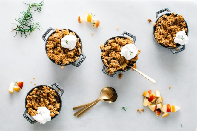 Asian Pear Apple Crisp with rosemary maple crumble