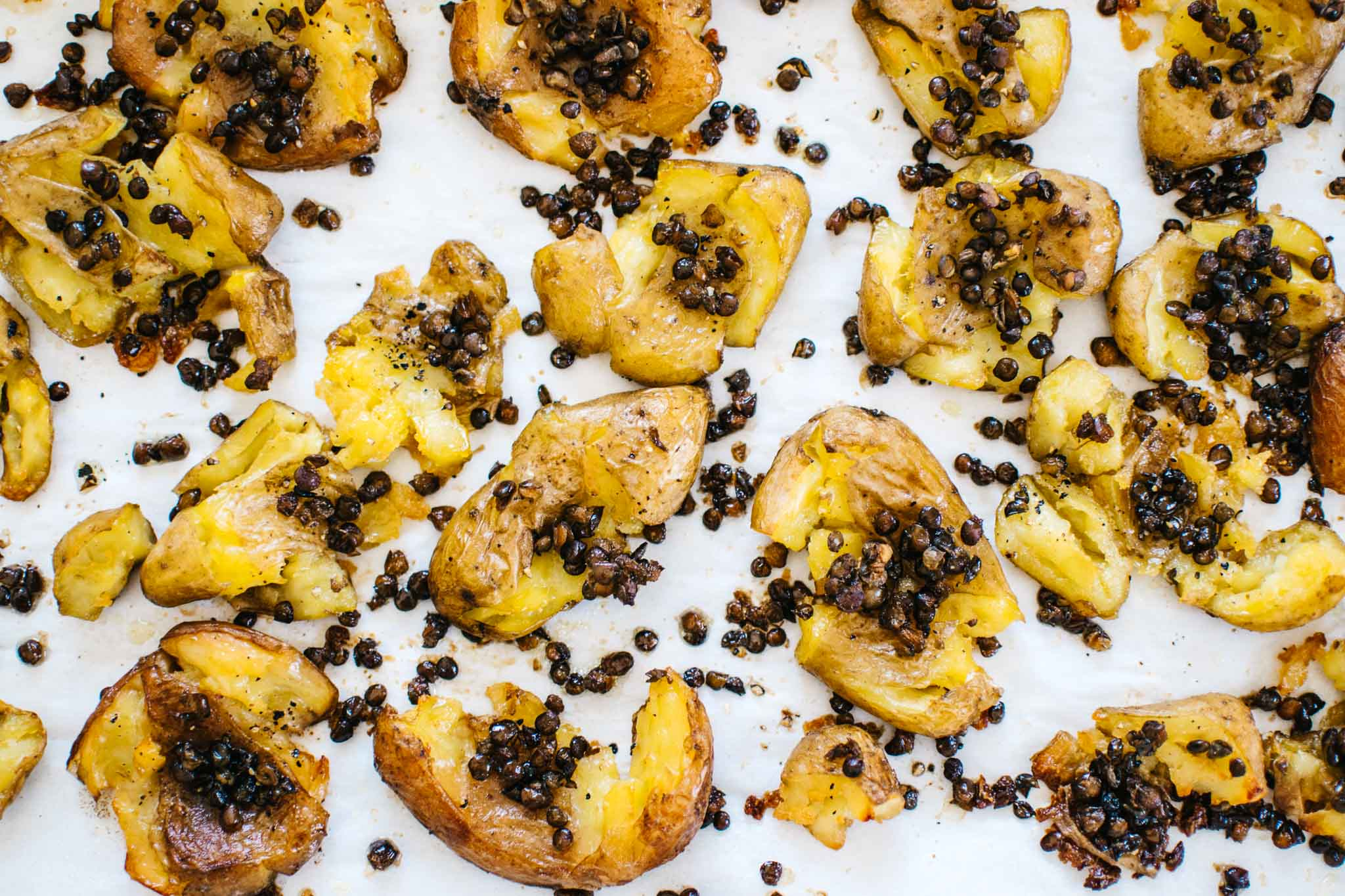 roasted potatoes with crispy lentils