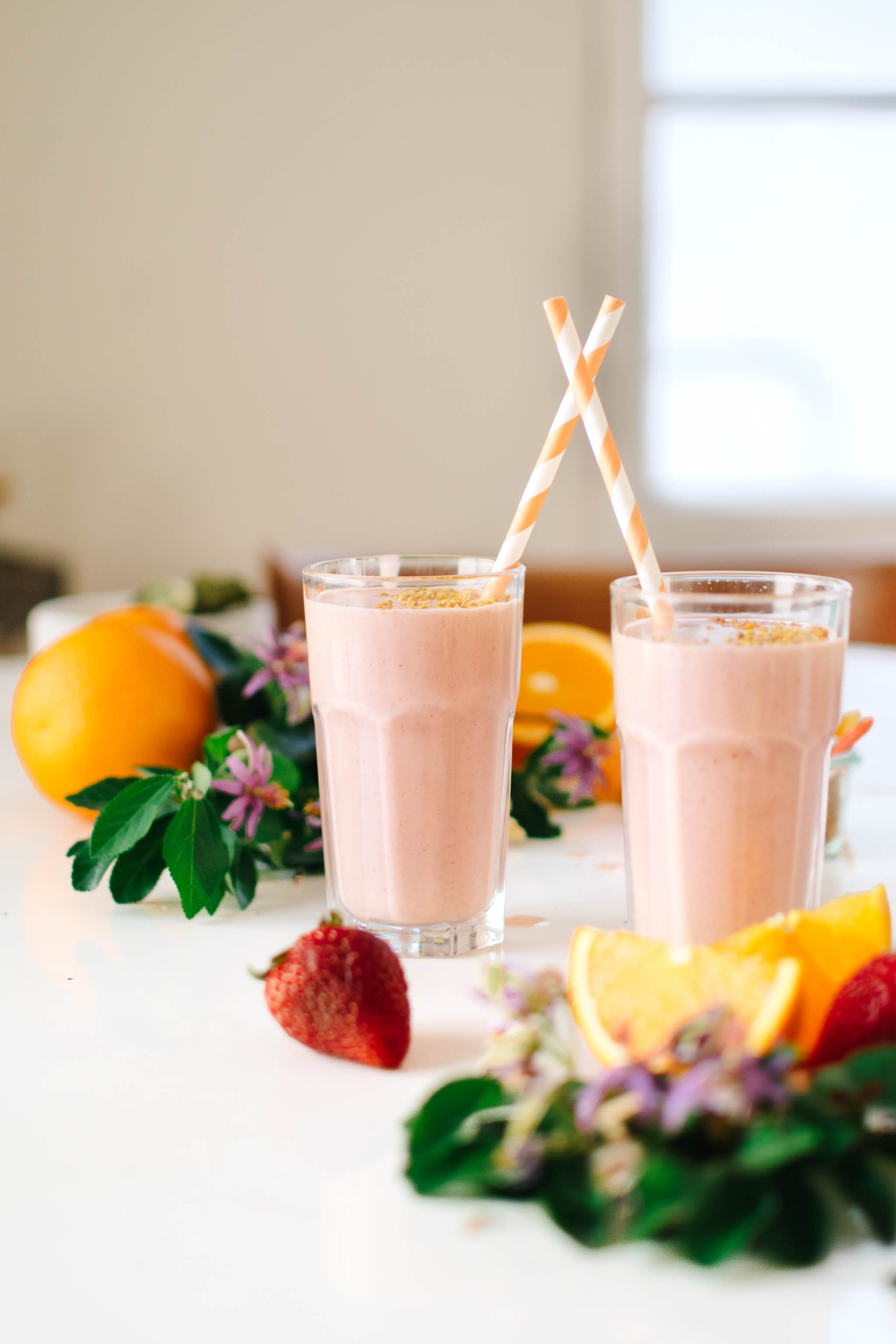 Glasses of Strawberry Orange Blossom Creamsicle Smoothie