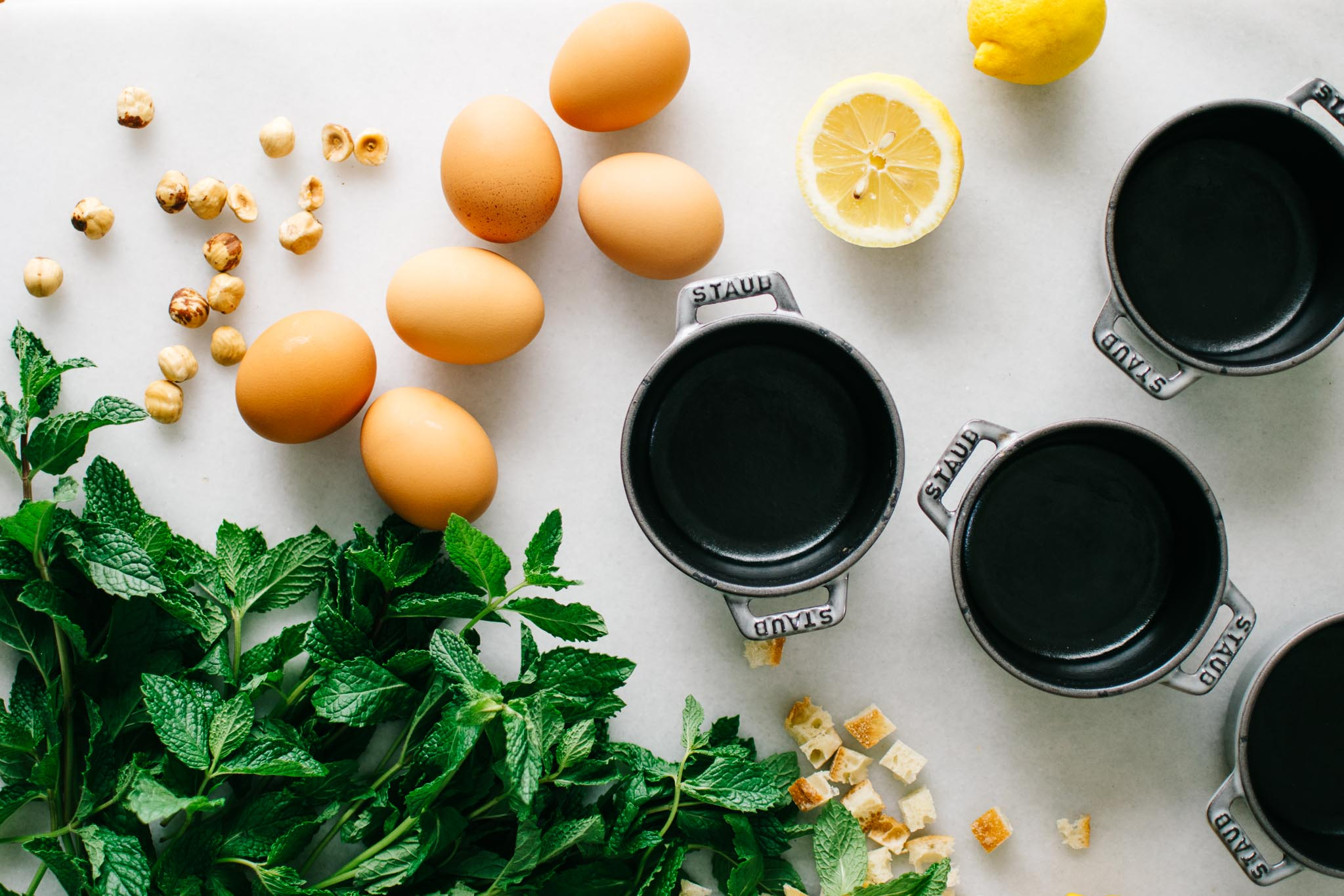 Mascarpone & Roasted Lemon Mint Pesto Strata