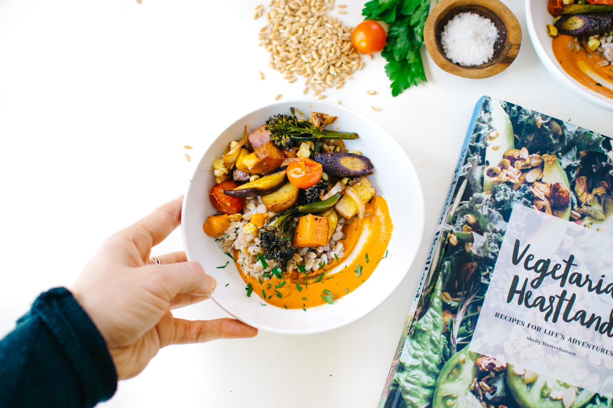 Roasted Vegetables with Creamy Romesco & Farro from Vegetarian Heartland
