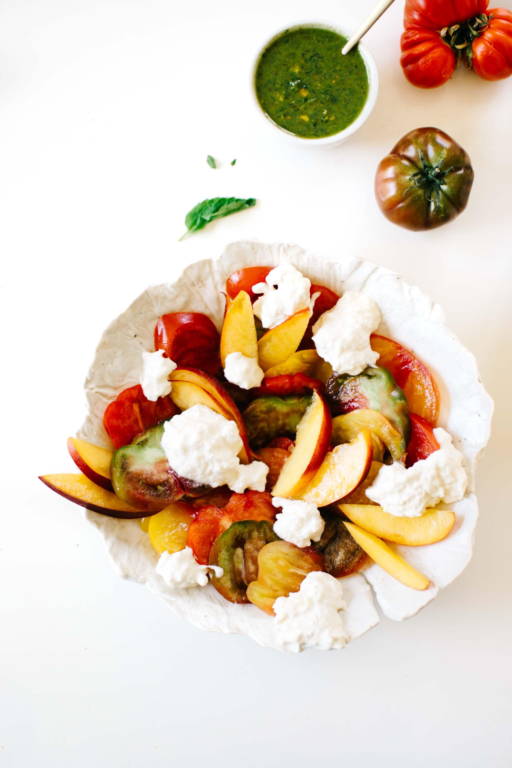 Heirloom Tomato, Nectarine & Burrata Caprese Salad with Pistachio Pesto