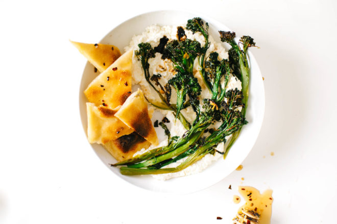 Sweet 'n' Spicy Charred Broccolini with Garlicky Ricotta