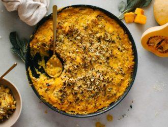 Cheesy Butternut Squash with Sage Cauliflower Breadcrumbs