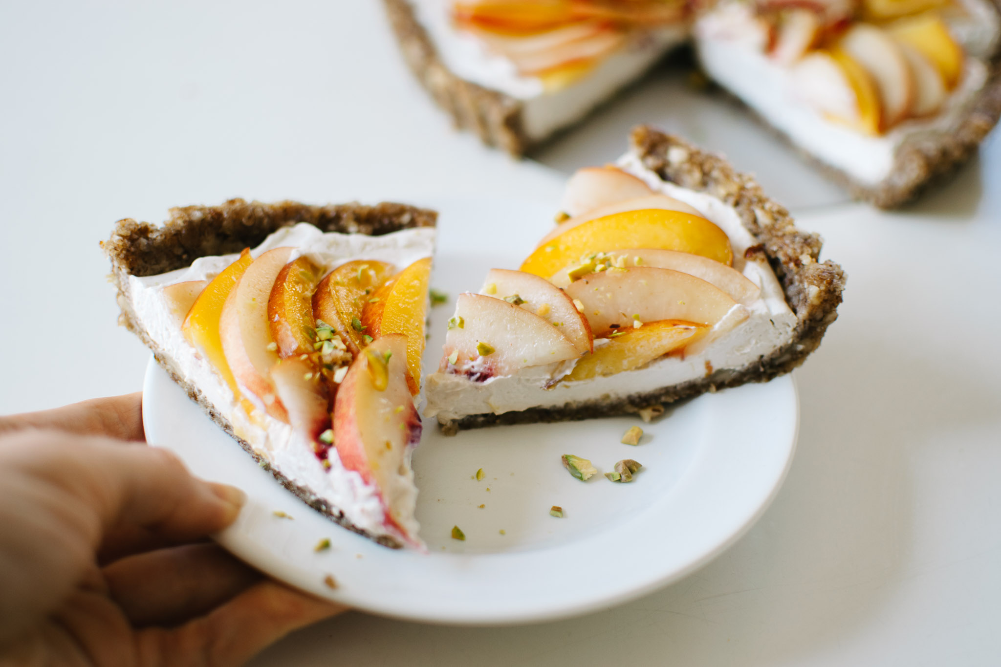 Jasmine Nectarine Coconut Cream Tart (Vegan)