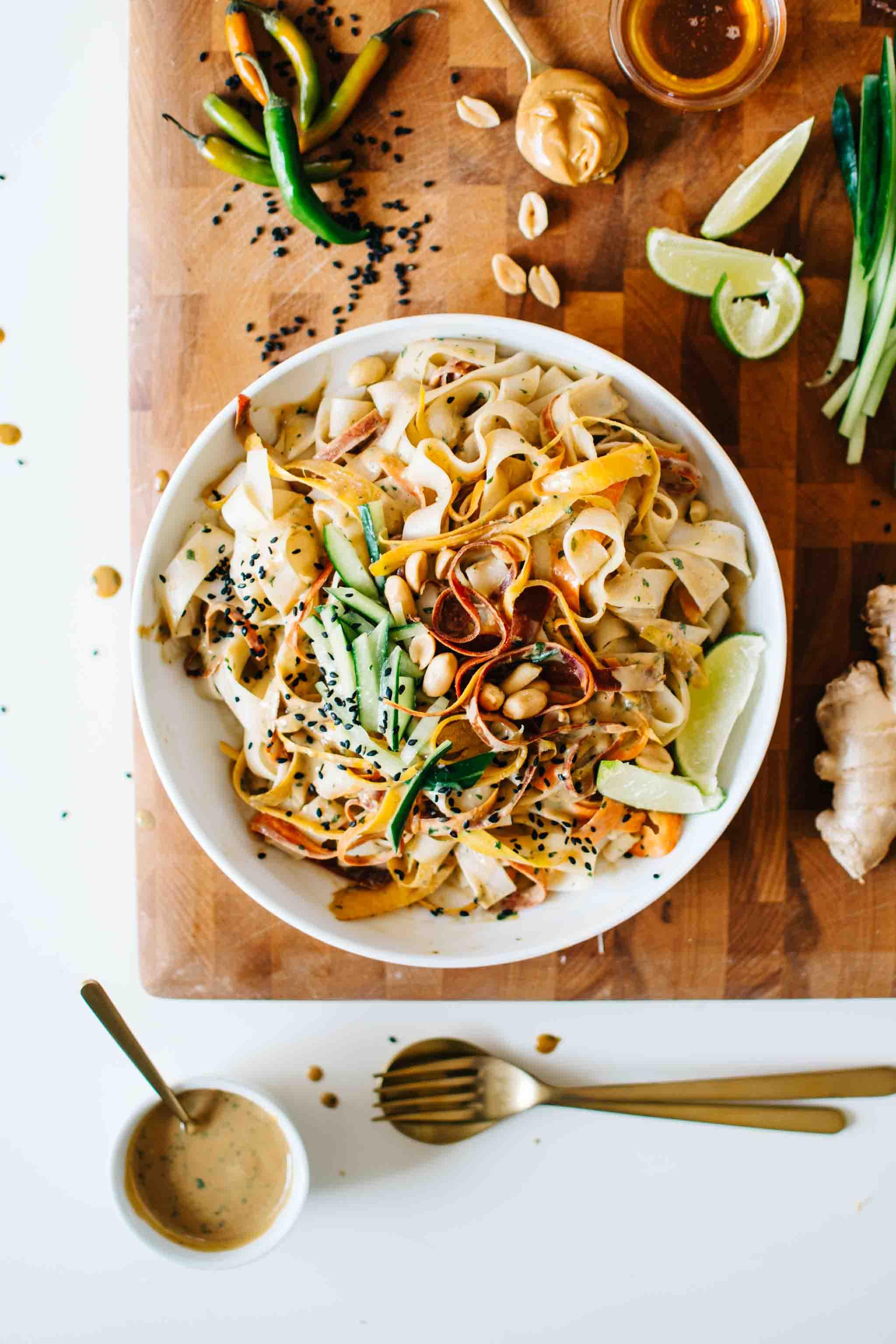 Sesame Peanut Rice Noodle Salad