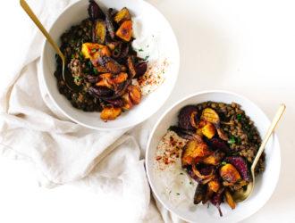 Harissa Lentils with Roasted Veggies & Yogurt