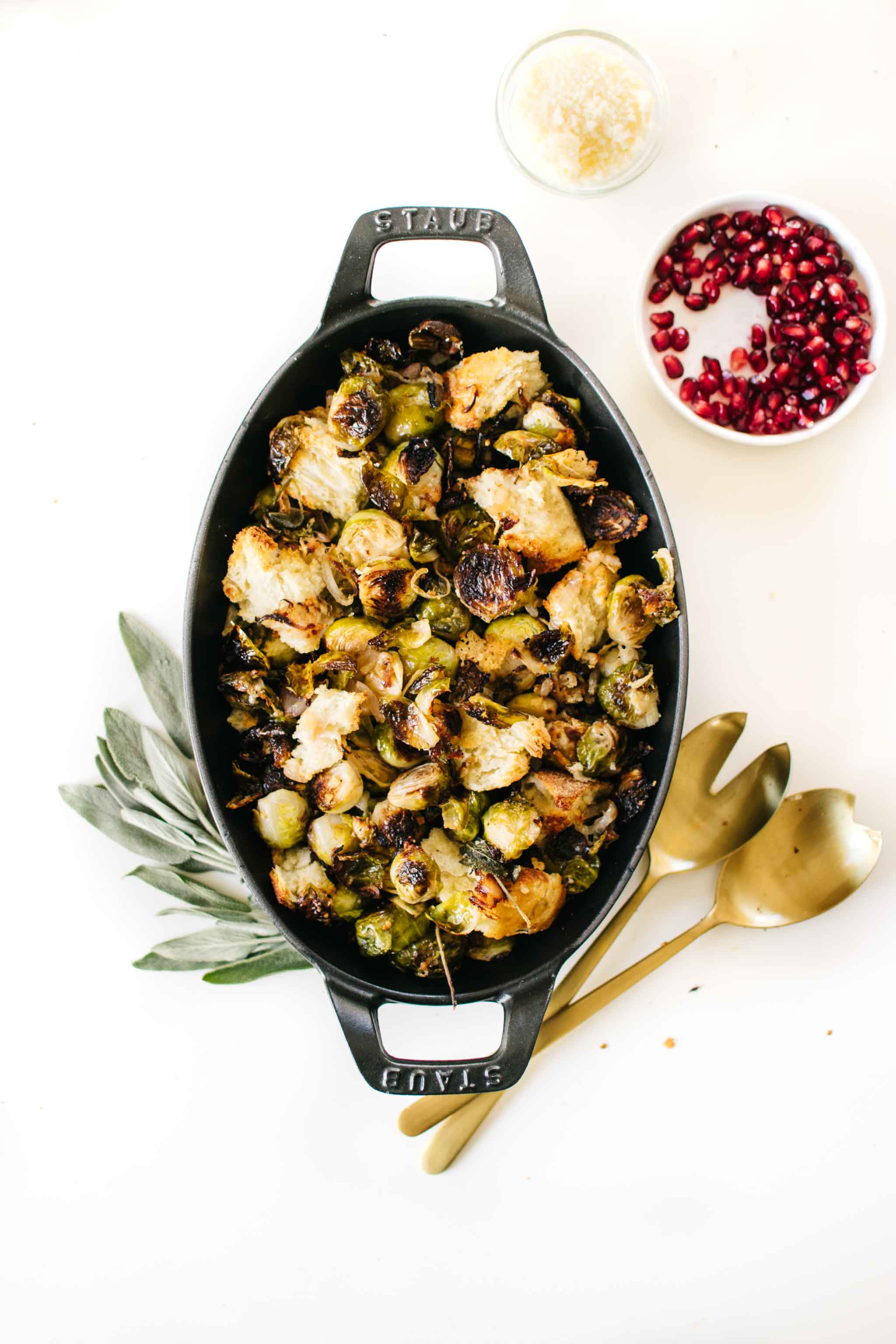 Sage Roasted Brussels Sprouts with Cheesy Bread Chunks