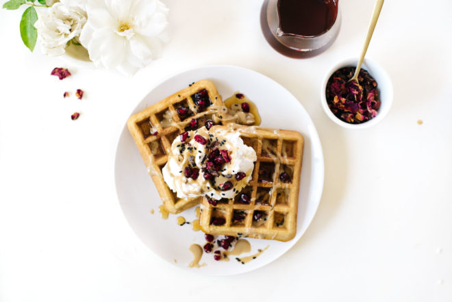 Coconut Tahini Waffles with Cardamom Rose Coconut Cream