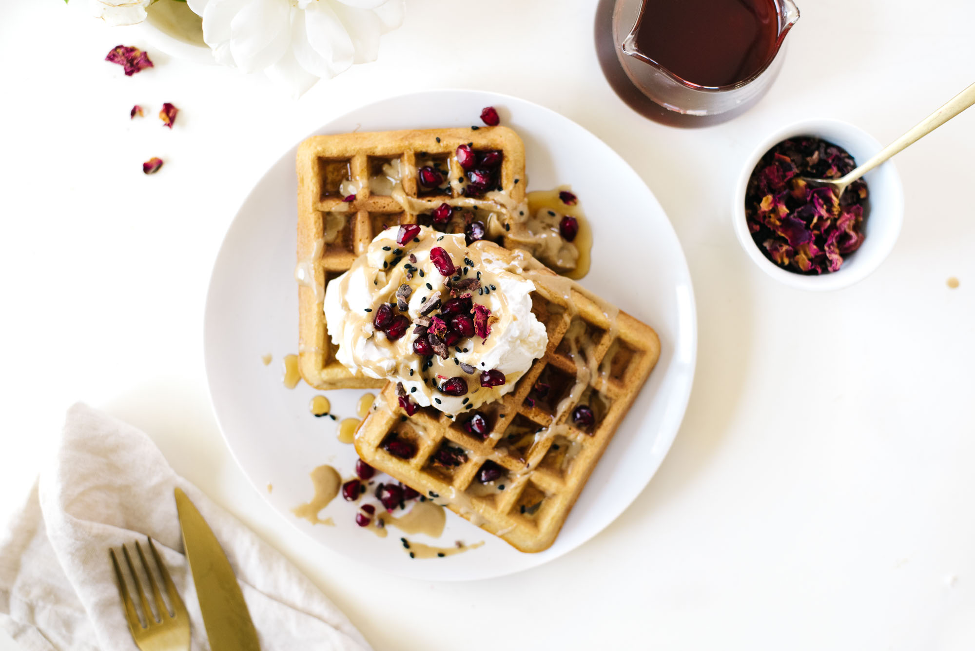Coconut Tahini Waffles with Cardamom Rose Coconut Cream