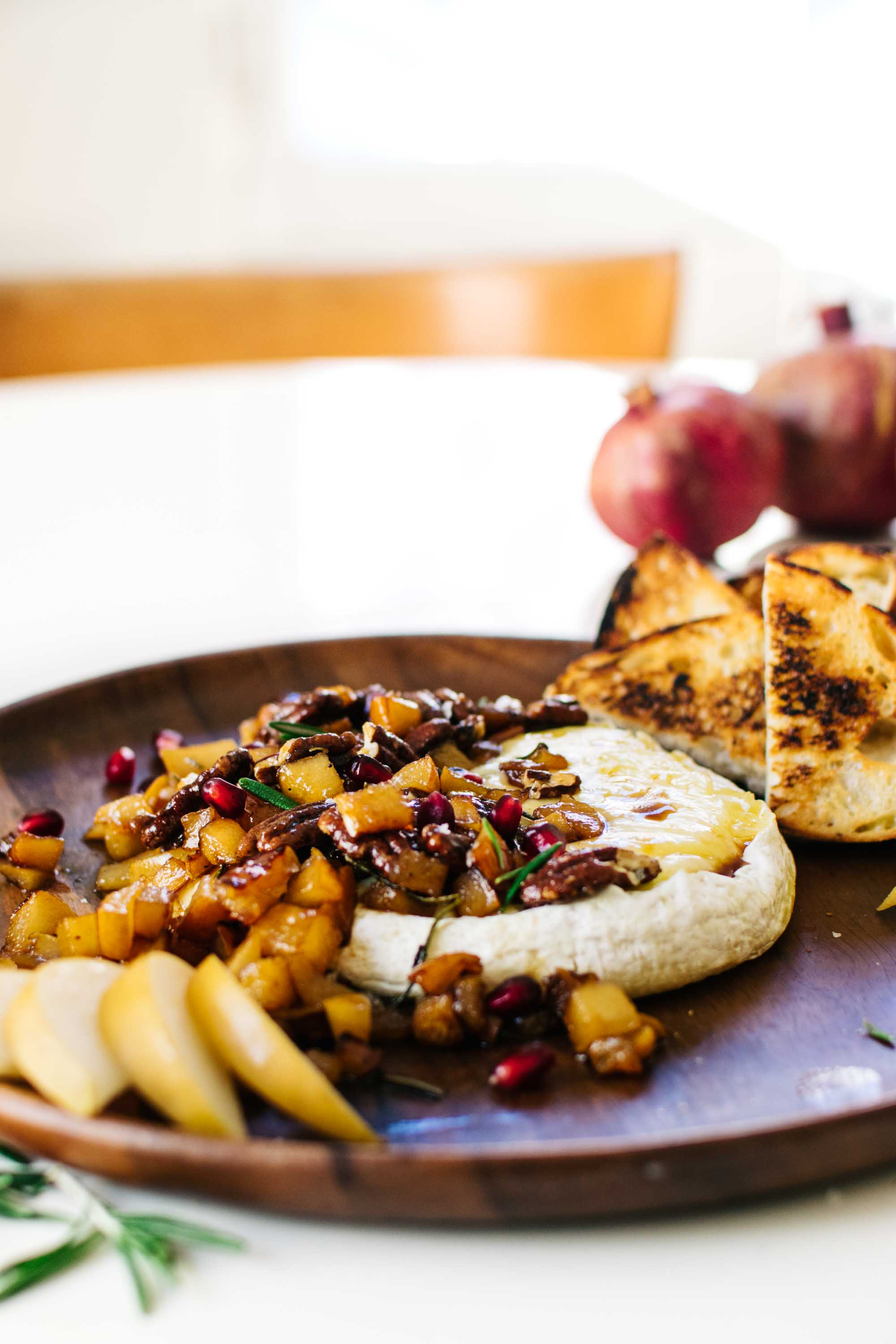 Maple-Rosemary Pear & Pecan Baked Brie